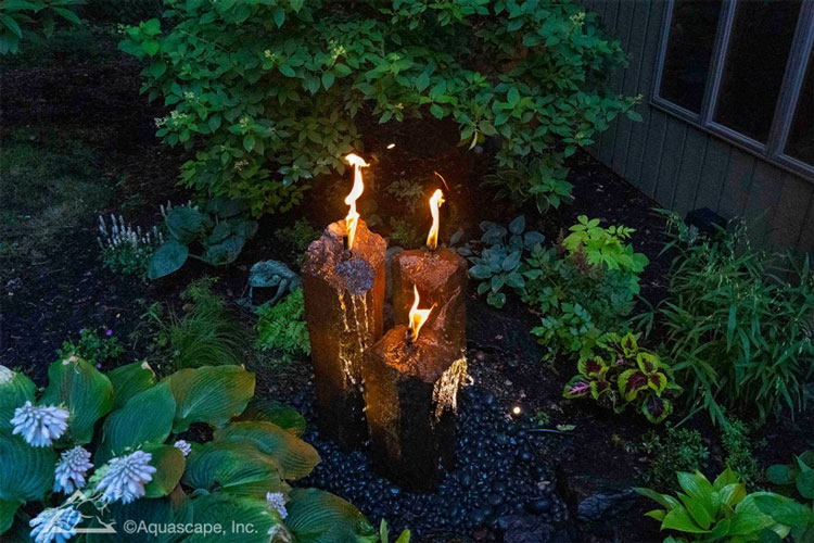 Aquascape Fire and Water 3-Piece Basalt Torch System