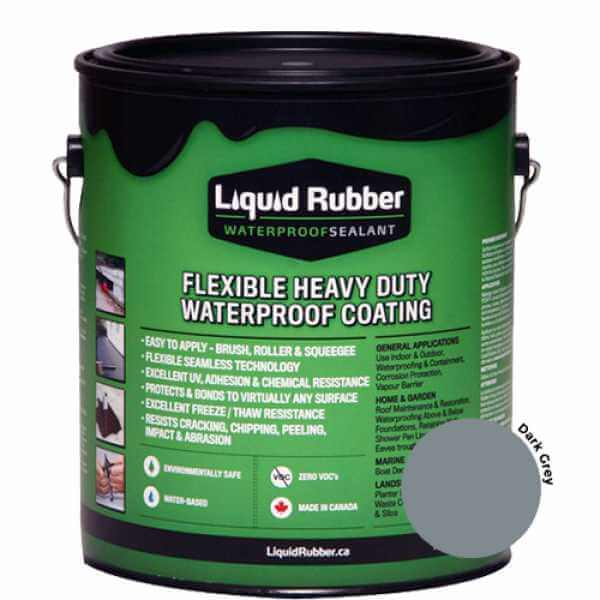 Liquid Rubber Waterproof Sealant Dark Grey 1 gal