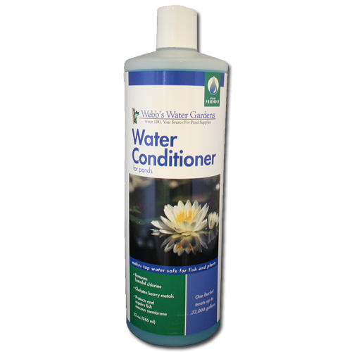 Webb 39 s water gardens water conditioner for ponds 32 oz for How to make tap water safe for fish without conditioner