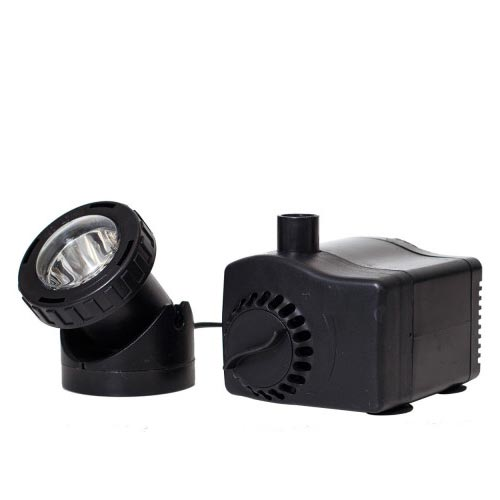 Pond Boss Fountain Pump with Low Water Auto Shut-off Feature 420 gph with Light (MPN PF420ASL)