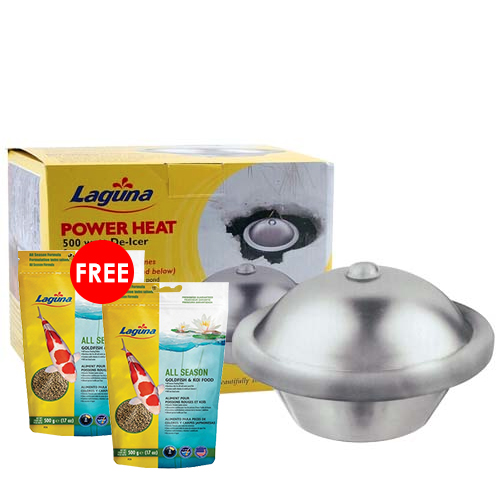 Laguna Power Heat De-Icer 500 watts with 2 FREE Laguna All Season Floating Food 17 oz. (MPN PT1643)