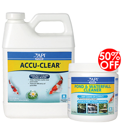 API Pond AccuClear 32 oz. with 50% Off on Pond & Waterfall Cleaner 1.1 lb. (MPN 142 G)