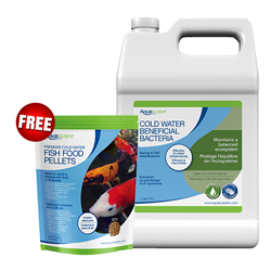 Aquascape Cold Water Bacteria 1 Gallon (MPN 96021) with FREE 2.2 lb Aquascape Premium Cold Water Fish Food