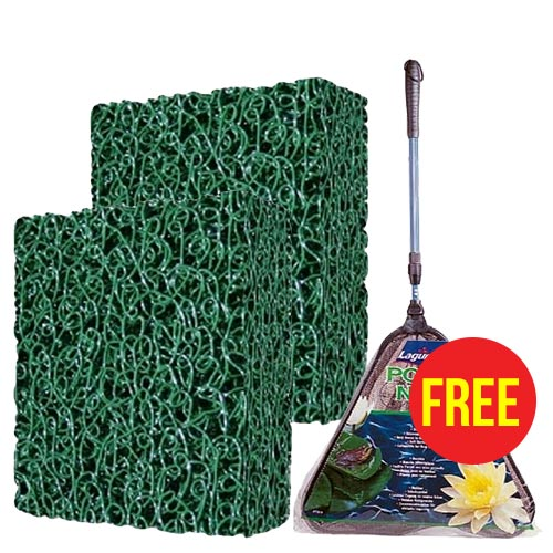"2 x Matala Filter Media 24"" x 39"", Green with FREE Laguna Collapsible Pond Net (PT818)"