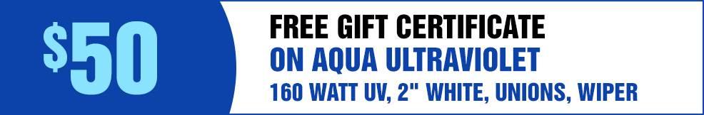 Aqua UV 160 watt UV 2 white unions wiper free Gift Certificate