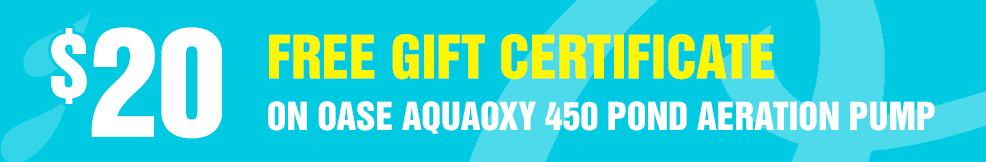 AquaOxy 450 Pond Aeration Pump 20 free gift certificate.