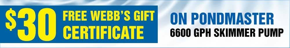 Pondmaster-6600 GPH Skimmer Pump 30 Free Gift Certificate