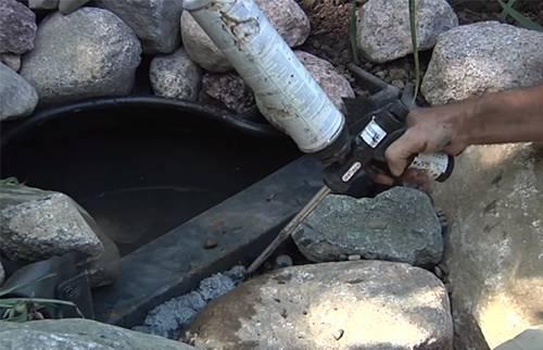 Webb's Water Gardens - Expanding polurethane foam